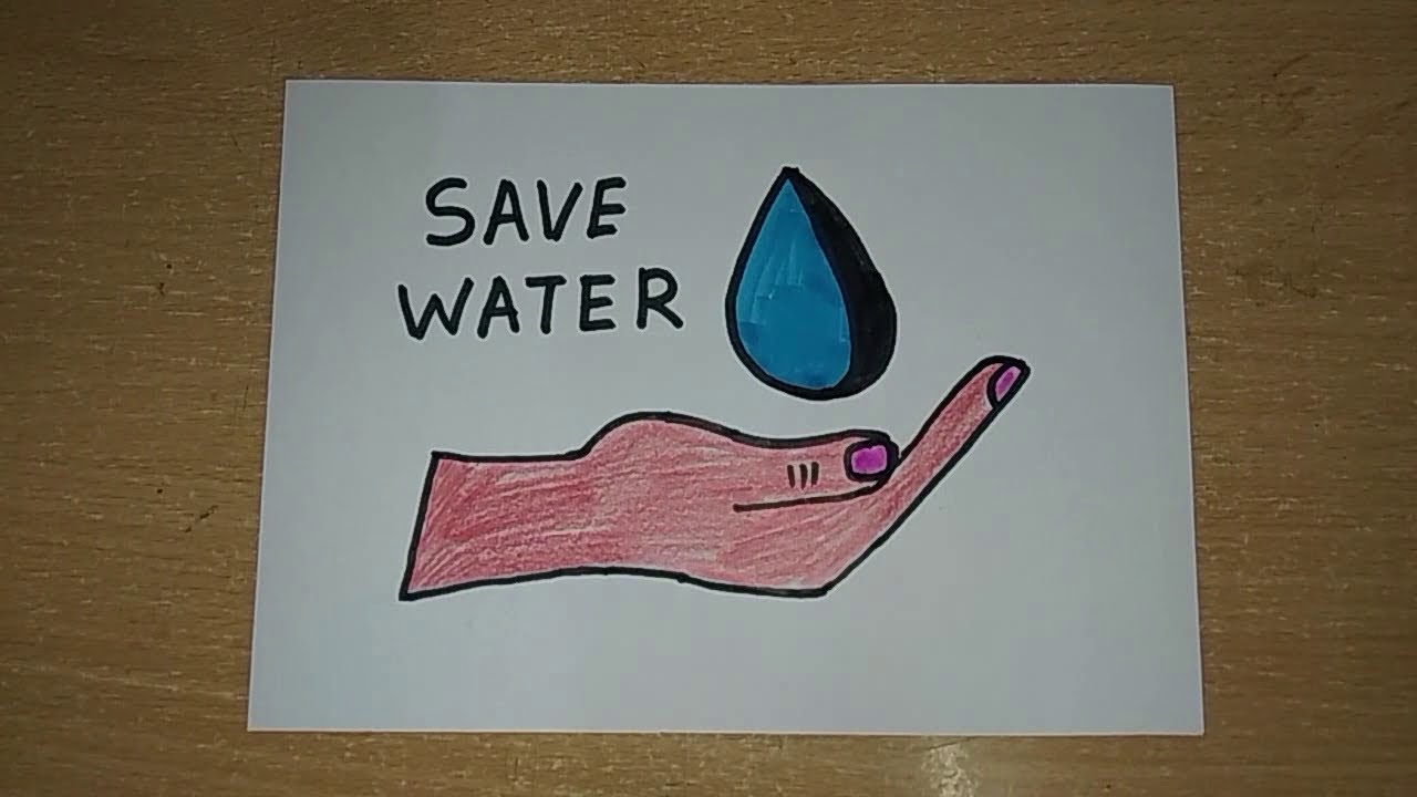 Easy Save Water Drawing For Kids School Project Youtube