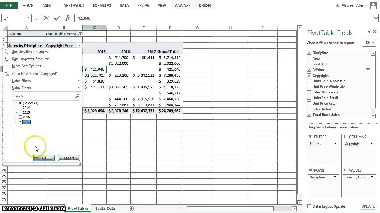 Excel 2013 Chapter 5 Subtotals, PivotTables and PivotCharts