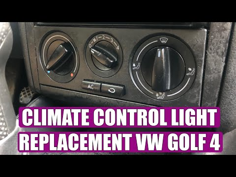 How to change / replace light bulb from air conditioner switch buttons VW Golf Mk4