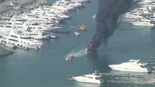 Yacht on fire at the Dubai marina