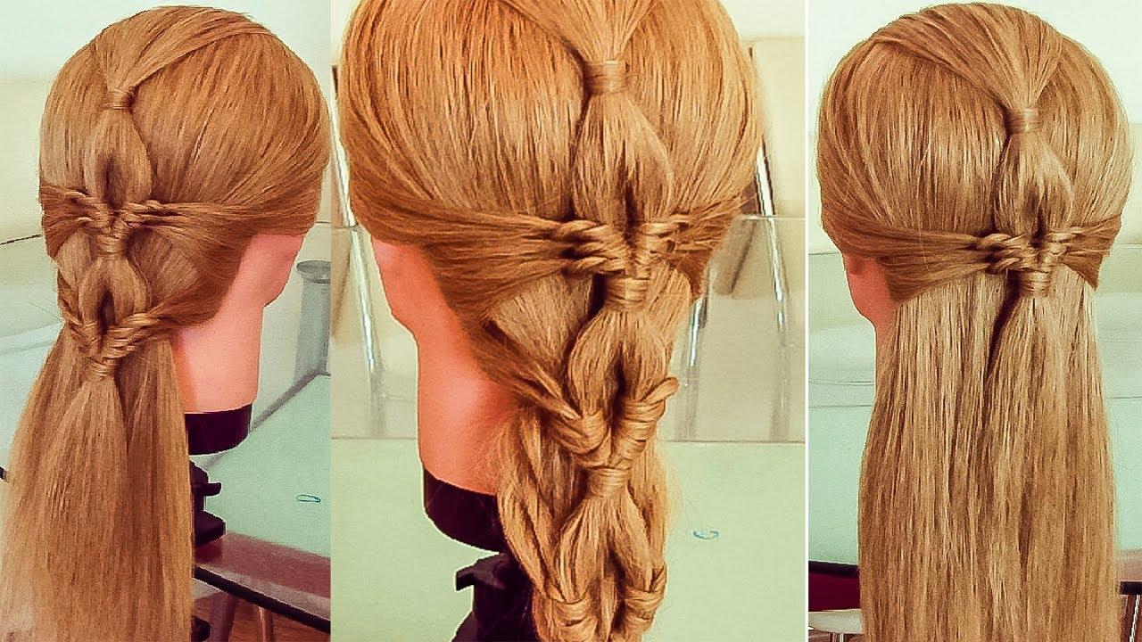 Красивая летняя коса из узелков Коса без плетения Hair tutorial