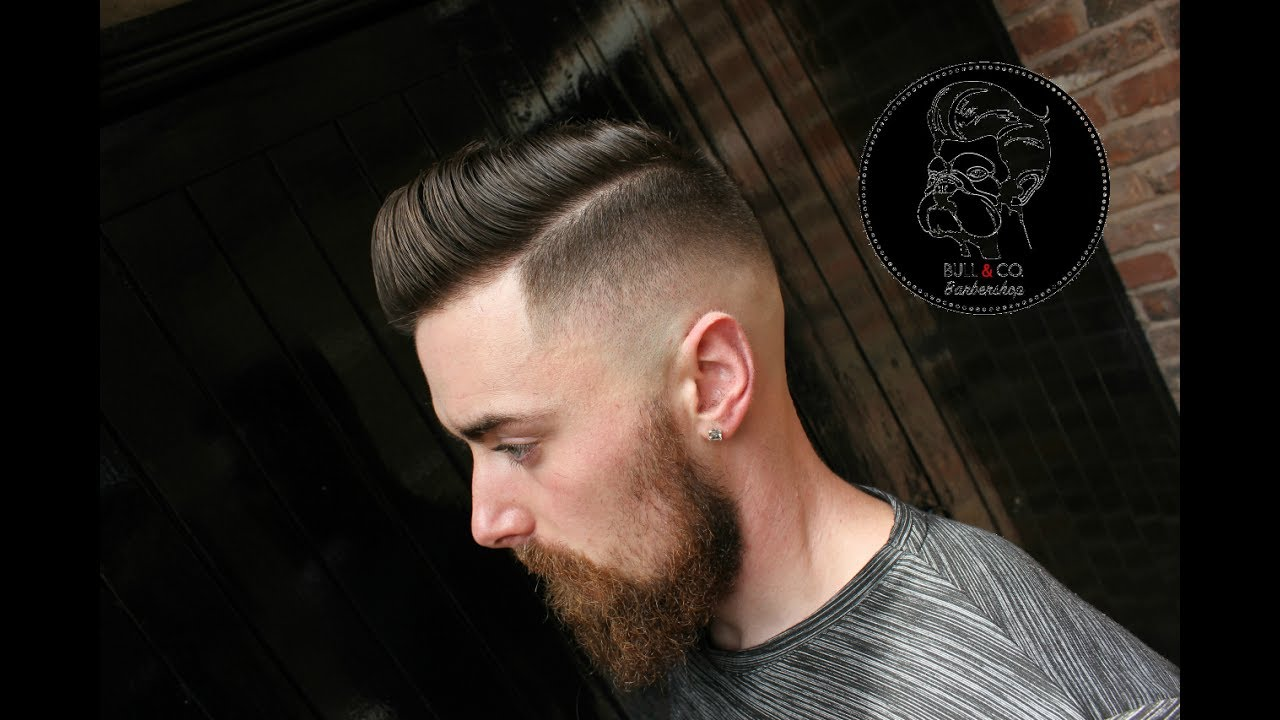 Side Part Pompadour And Skin Fade W Bull Co Barbershop