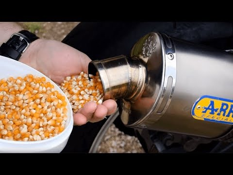 MAKING POPCORN WITH A MOTORCYCLE EXHAUST