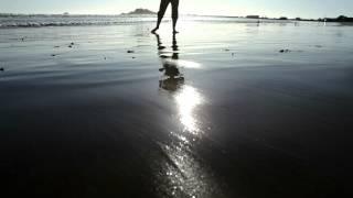 Retreat of small ocean waves