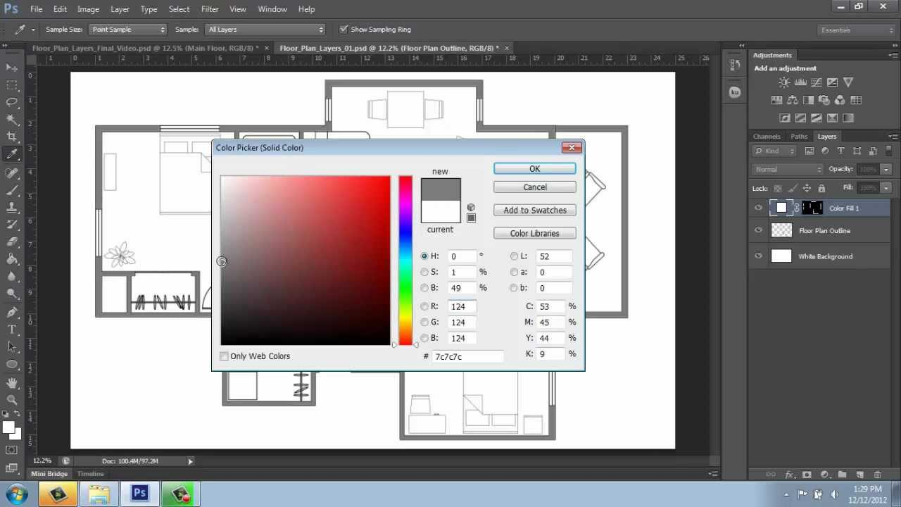 Adobe photoshop cs6 rendering a floor plan part 2 for Adobe floor