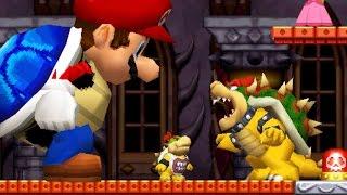 New Super Mario Bros DS - Giant Blue Shell Mario VS All Castle Bosses