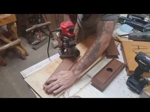 Teak Wood Light with Blue Resin Inlay