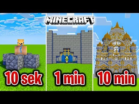 Minecraft BUDUJĘ ZAMEK W 10 SEKUND, 1 MINUTĘ I 10 MINUT!