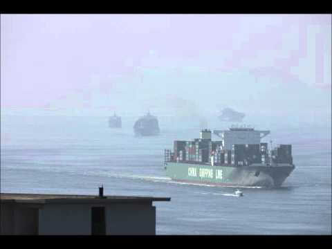 Time-Lapse of Container Ships in the East Lamma Channel
