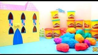 Сюрпризы с героями Peppa Pig. замок Свинки Пеппы. Сюрпризы из Play-Doh. Открываем Плей До,