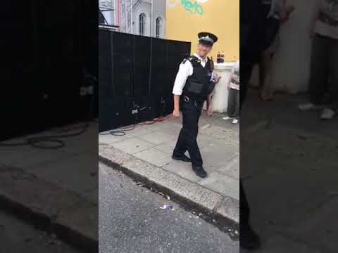 Body popping police officer.