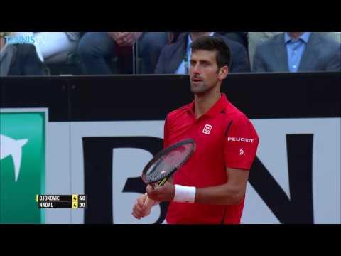 Djokovic Rips Backhand Hot Shot Against Nadal Rome 2016