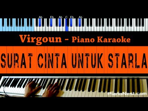 Virgoun - Surat Cinta Untuk Starla - LOWER Key Piano Karaoke - Indonesian Song