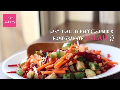 Easy Healthy Beet Carrot Cucumber Pomegranate Salad With Mango & Lemon Dressing │Soul I M Recipes
