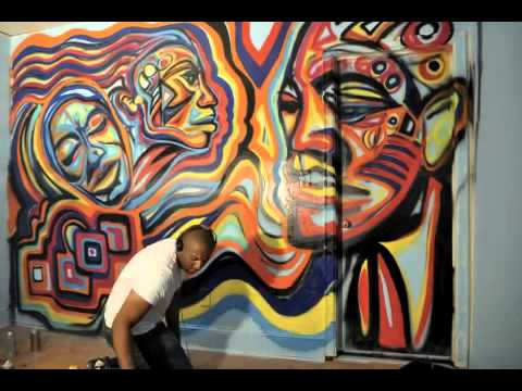 Wall mural artist let em go atlanta art corey barksdale for Atlanta mural artist
