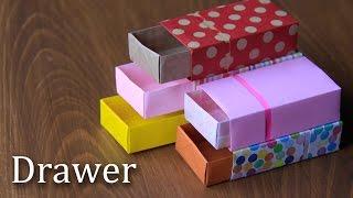 折り紙で引き出しの折り方。折り図付き。ゆっくりバージョン。【Origami Tutorial】drawer thumbnail