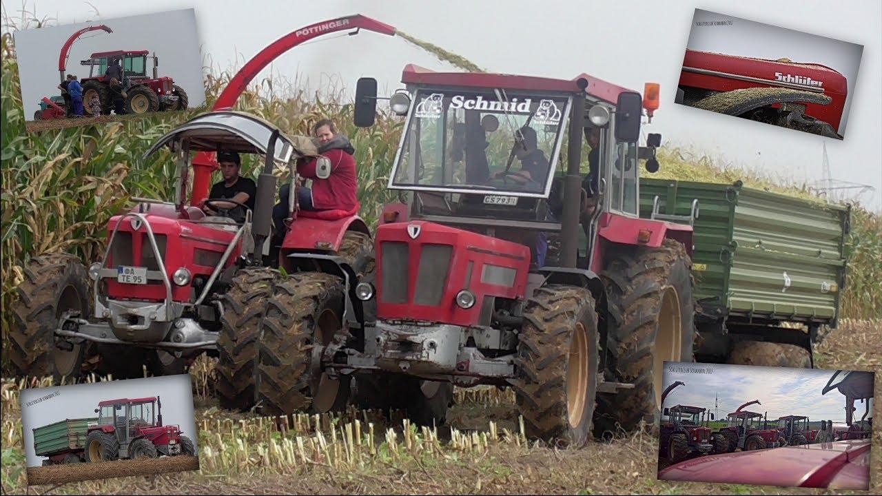 Schlüter Traktoren beim Maishäckseln für eine BGA // 3 ...