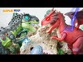 Cartoon Dinosaurs Toys | T-rex & Carnotaurus join forces fighting Red Dragon | Jurassic World Toys