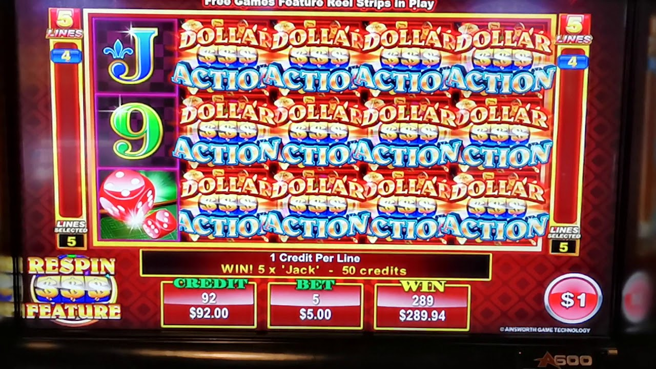 Dollar Action Slot 600 Free Games Feature On 5 Bet Ainsworth