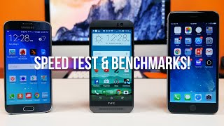 Galaxy S6 vs HTC One M9 vs iPhone 6 Plus Speed Test & Benchmarks