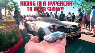 WE CRASHED THE SHOW!! RIDING IN HYPERCARS: PAGANI, FERRARI, LAMBORGHINI TO A CAR SHOW!!