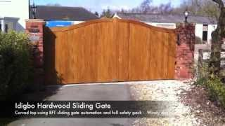 Swan Gates - Idigbo Hardwood Electric Sliding Gate