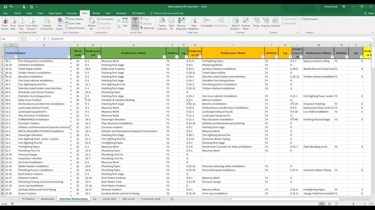 import activities relationships from excel to primavera p6 youtube