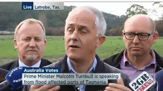 Malcolm Turnbull comments on climate change in relation to Tasmanian floods