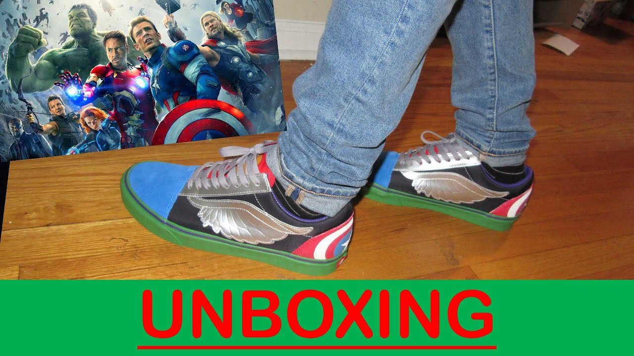 "b8a524be9a2 Marvel ""WHAT THE AVENGERS "" Old Skool Vans Unboxing review on feet ..."