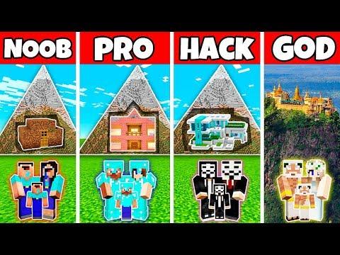 Minecraft:FAMILY HOUSE IN MOUNTAIN BUILD CHALLENHE - NOOB vs PRO vs HACKER vs GOD in Minecraft