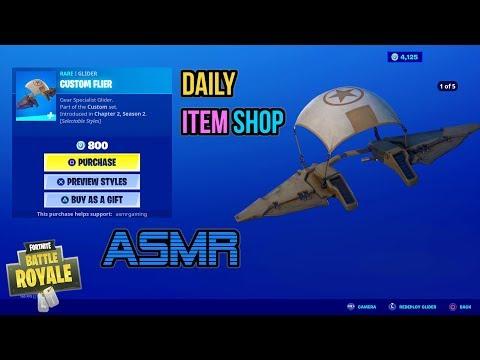 ASMR | Fortnite NEW Custom Flier Glider! Daily Item Shop Update 🎮🎧 Relaxing Whispering 😴💤