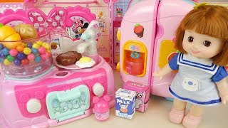 Mini mouse kitchen and baby doll food cooking play bay Doli house