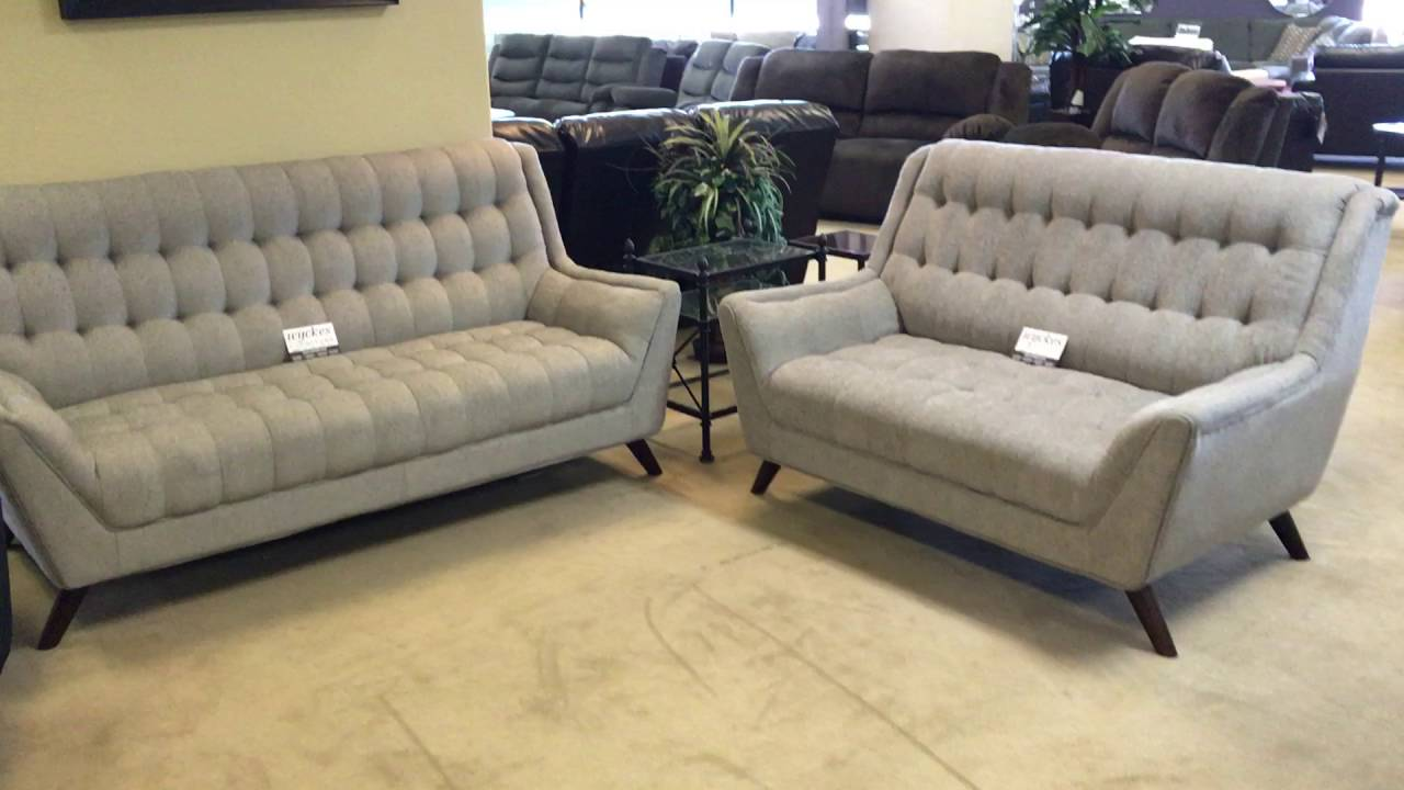 Preferred Natalia 503771 503774 Tufted Grey Sofa & Loveseat - YouTube ZB24