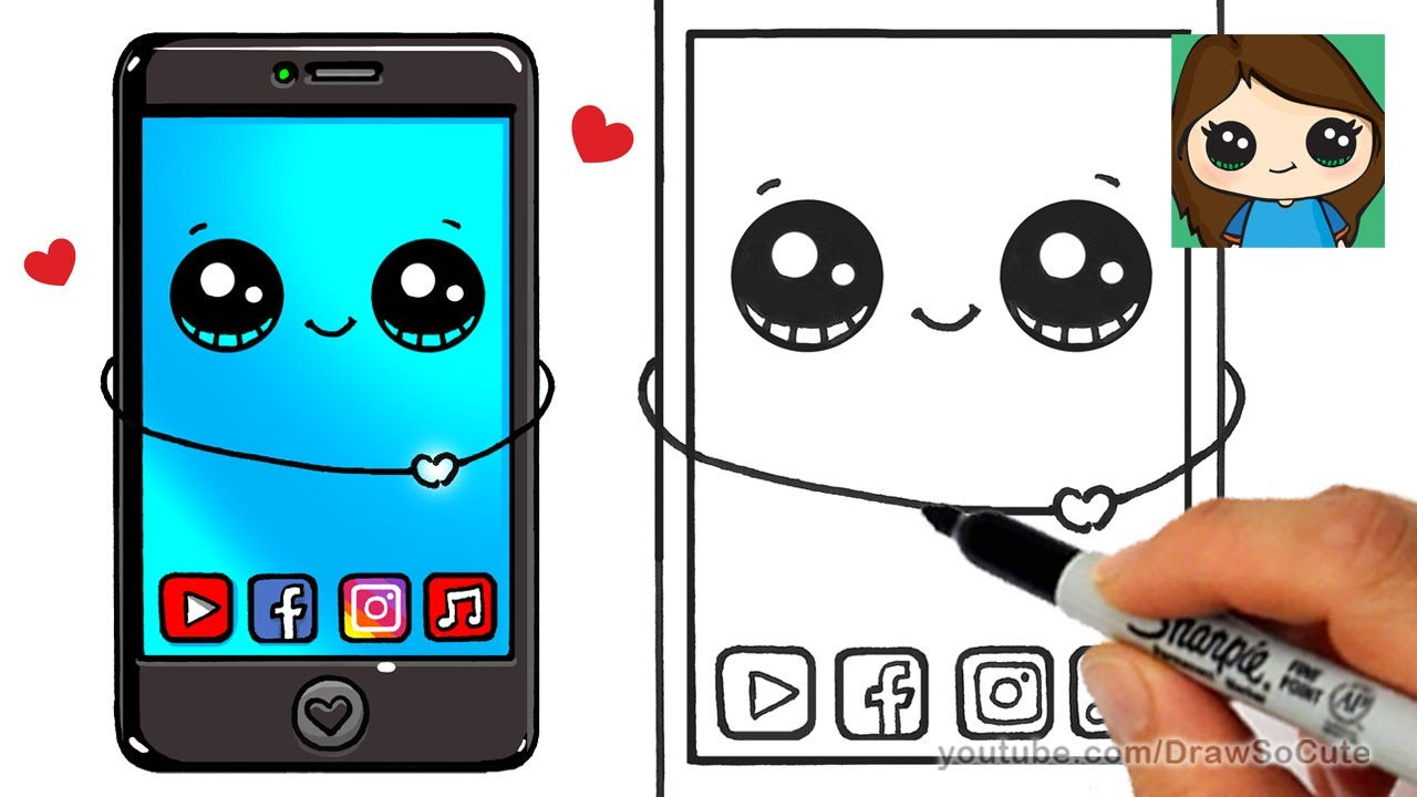 How to Draw a Phone Cute and Easy - YouTube