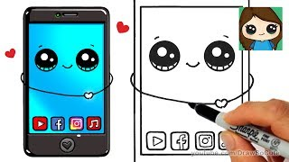 How to Draw a Phone Cute and Easy