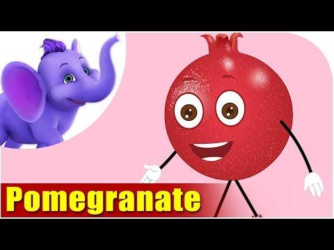 Pomegranate Fruit Rhyme for Children, Pomegranate Cartoon Fruits Song for Kids