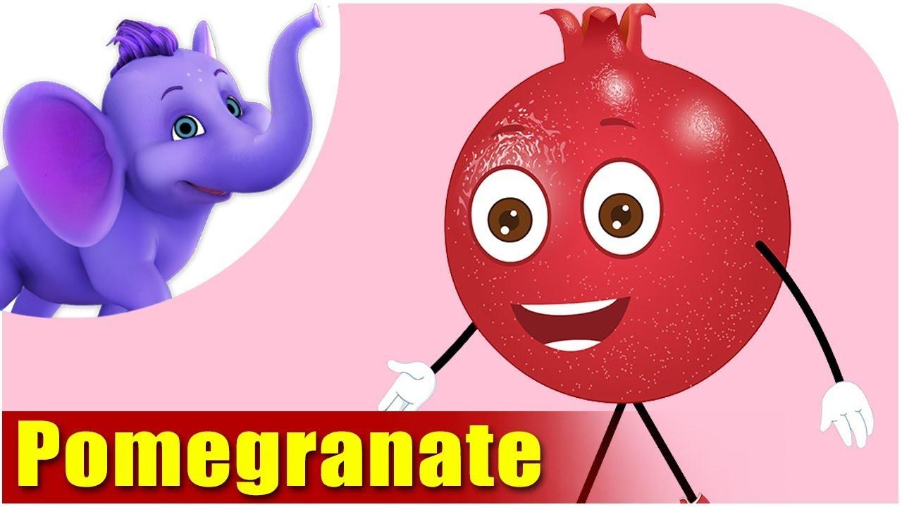 Pomegranate Fruit Rhyme for Children, Pomegranate Cartoon ...