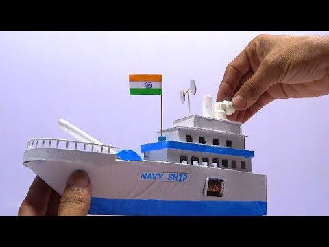 How to make a Navy ship of cardboard | Indian navy ship | Easy craft hacker | School project