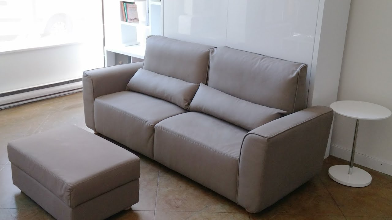 Wall Sofa Caramel Leather Bed Murphysofa Minima With Storage Ottoman Demo Youtube