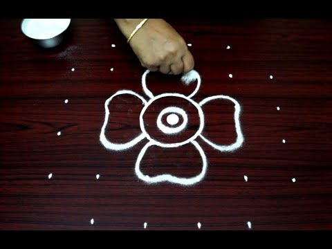 simple rangoli design with 6 dots || easy kolam for beginners || small flower muggulu