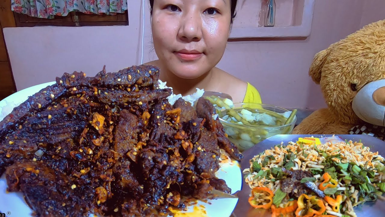 Spicy Fried Red Beef/Buff, Kangsoi, mimi Singju Mukbang