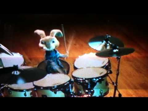 Hop Movie , Bunny plays drums to Dynamite