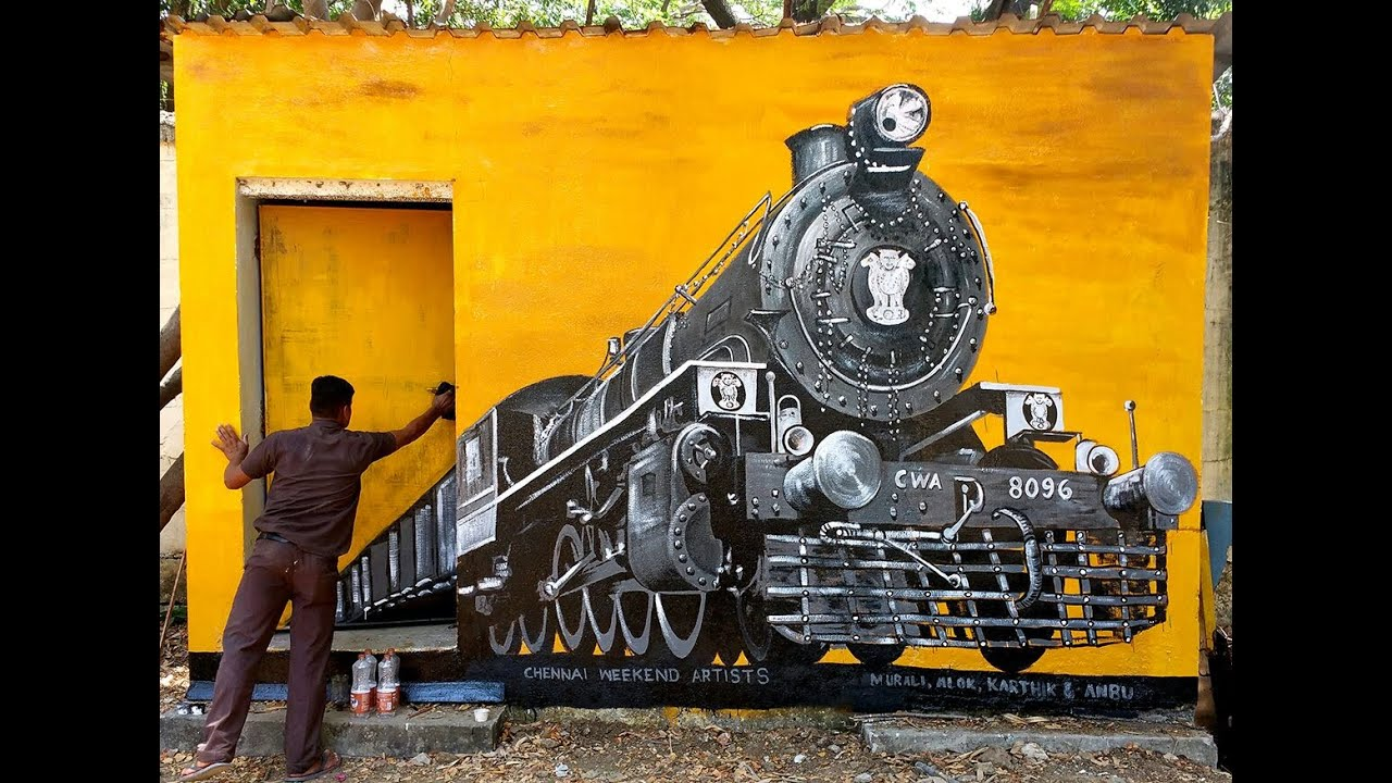 Mural Painting On Wall 3d Wall Painting Of Rail Engine By Cwa At Rail Museum Icf