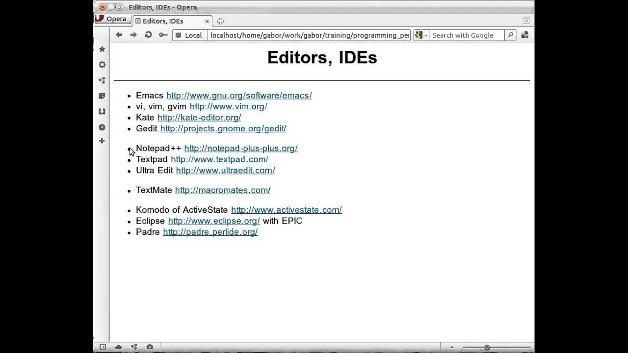 Editors and IDEs for Perl developers - video