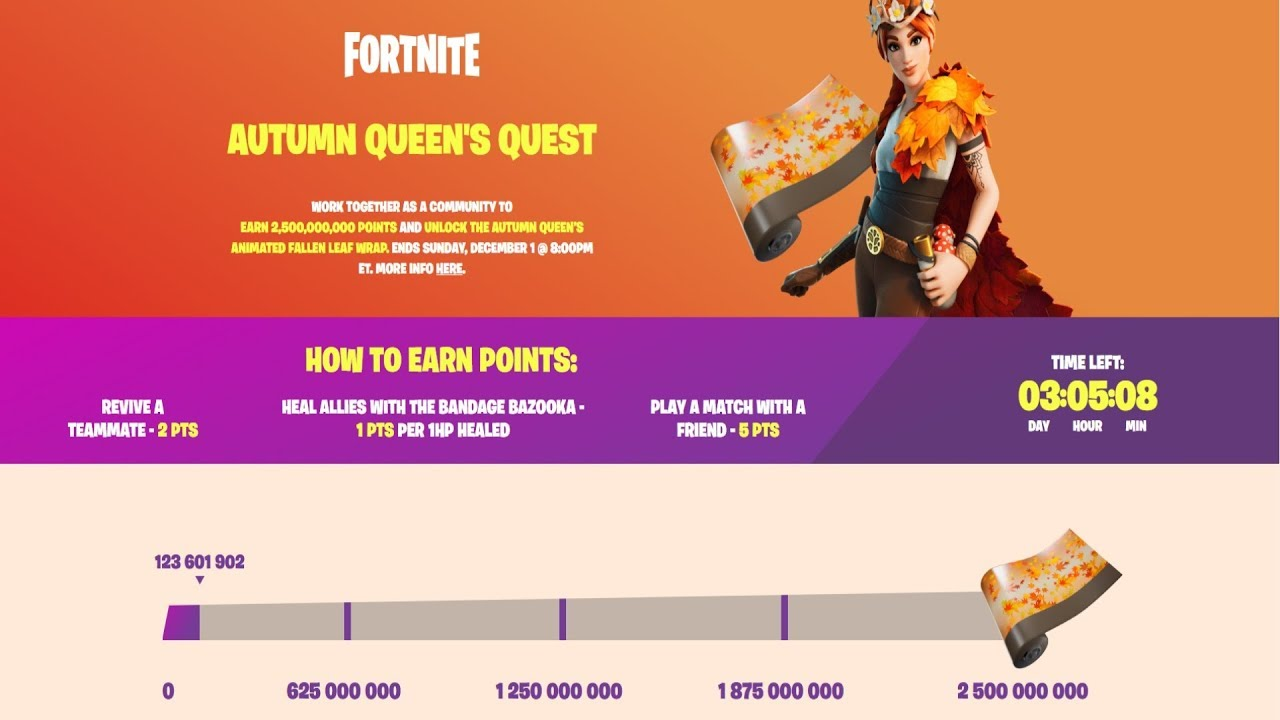 New AUTUMN QUEEN'S QUEST Community Challenge In Fortnite! How To Get The Fallen Leaf Wrap For Free!