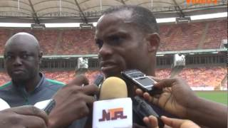 Coach Sunday Oliseh in training session with the Super Eagles