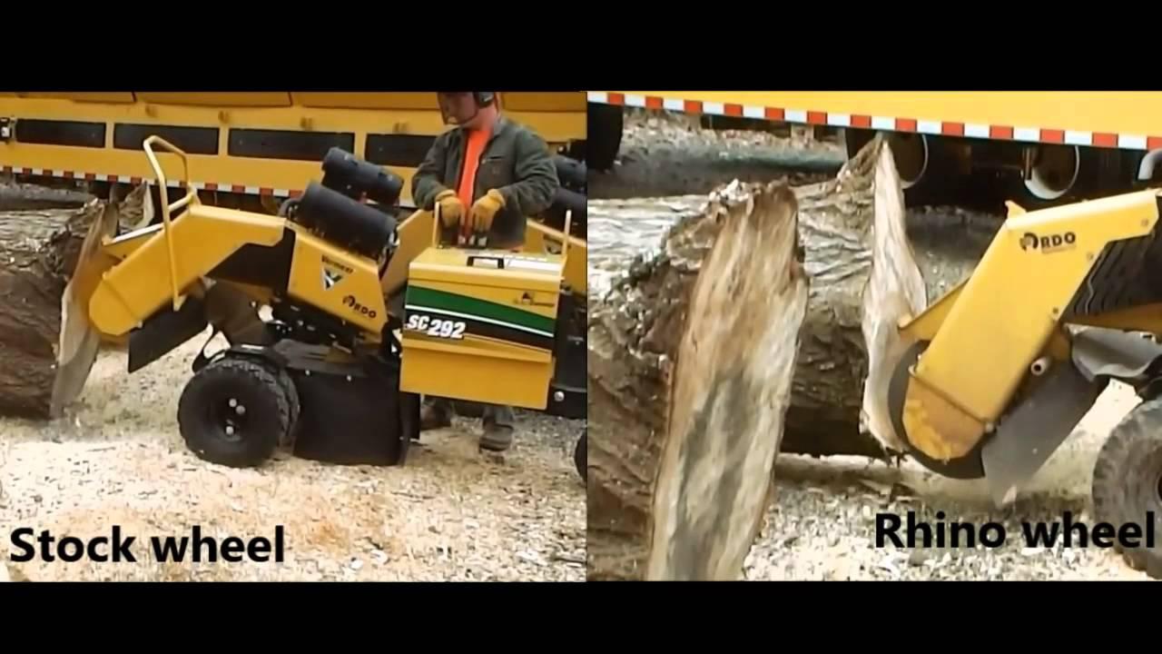 Vermeer Stump Grinder >> Vermeer 252-292 Yellow jacket vs Rhino wheel - YouTube