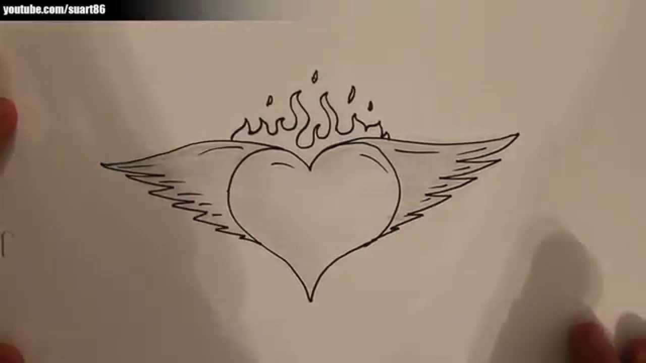 How To Draw A Heart With Wings And Flames