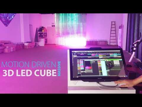 3D LED Cube RGB/DMX Motion Controlled 80X50 Pixels Massive DIY Setup DMX Tube Display System