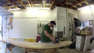 Balsa wood surfboard